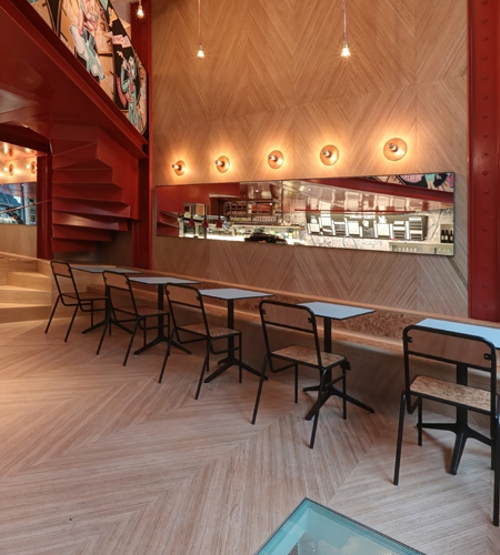 Plexwood® Charli Salé coffee place and take away restaurant in city centre of Brussels with eclectic Plexwood geometric pattern designs