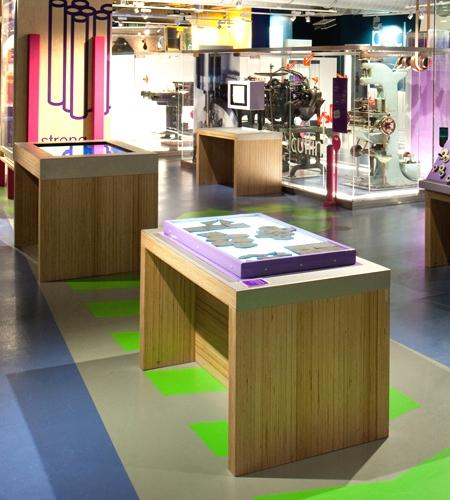 Plexwood® Birmingham Science Museum exhibition tables in birch vertical cut veneer plywood