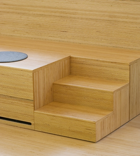 Plexwood® Clip seats details with stairs form beech professional sandwich laminate veneer composite