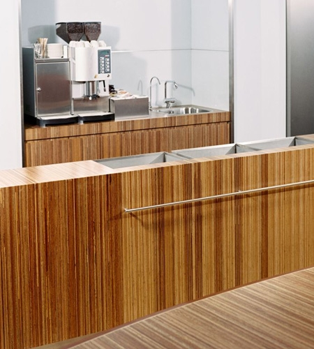Plexwood® Consultancy Firm kitchenette with table detail in meranti maltese stacked plywood surface veneer