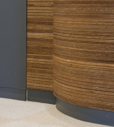 Plexwood® De Beerendonck Aging Home detail of an outward curved food-safe professional kitchen cabinet