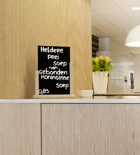 Plexwood® De Meeuwbeemd Elderly Care Home counter detail with cladding in finest deal re-surfaced veneer ply