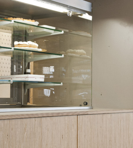Plexwood® De Meeuwbeemd Elderly House food display counter detail in deal edged composite ply sandwich veneer