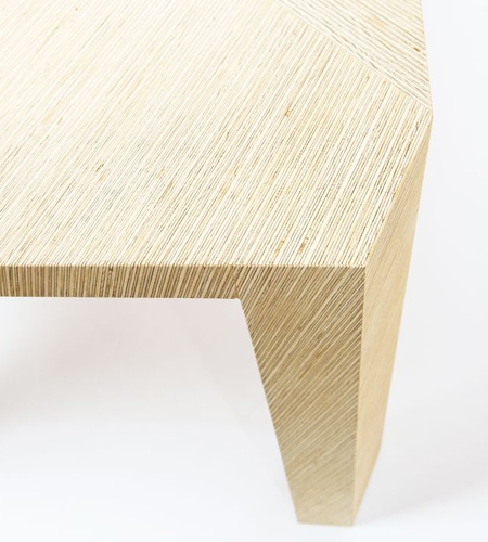 Plexwood® Deuvel Design detail of a geometric table design with solid deal sliced-up composite plywood veneers