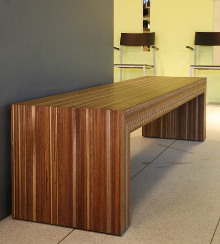 Plexwood® Veterinary Deventer entrée bench in meranti reconstituted multi-line sideways veneered plywood