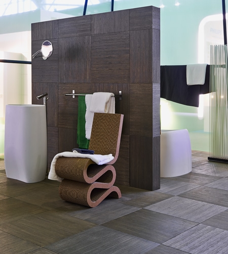 Plexwood® Hip ply-type poplar strip veneer tiles for flooring and wall covering with dark brown coloured varnish