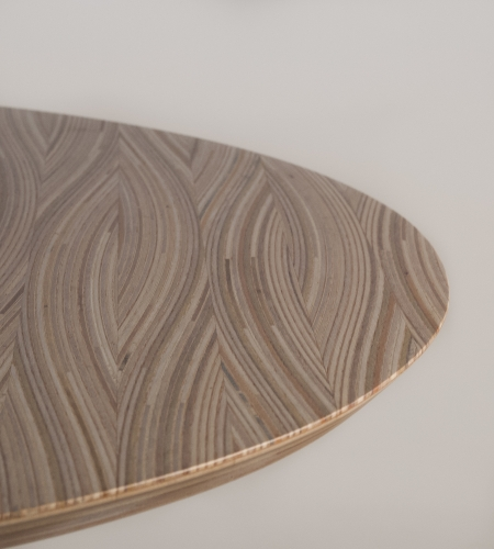 Plexwood® Frank Heerema awesome table with 2D-3D optical illusions with maltese stacked plywood veneers