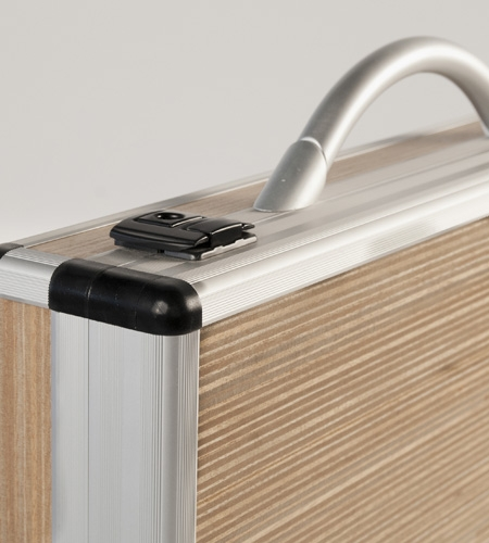 Plexwood® Gefken inside wooden business briefcase with beech short-edge plywood in metal construction