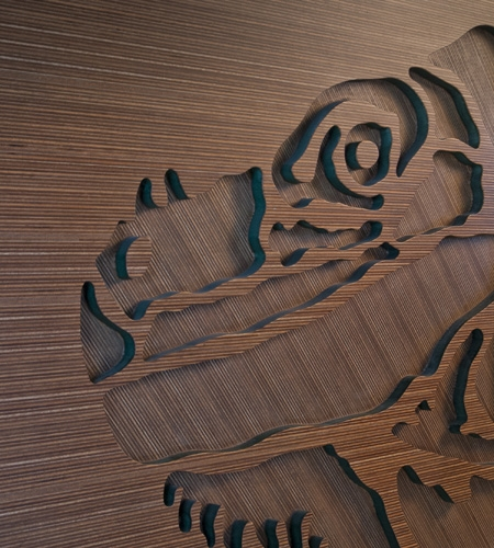 Plexwood® Annebel Noltes detail of a lovely wooden sculpture that incorporates ocoumé and green mdf