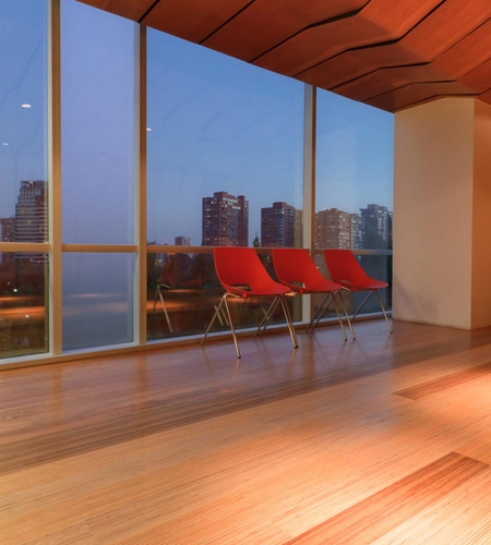 Plexwood® Infodema and Rebest solid mixed high-end design wood showroom floor with view over Santiago de Chili