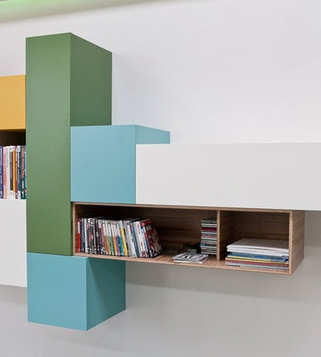 Plexwood® Kastwerk striking colourful wall hung cabinet detail with meranti stacked standing plywood veneer panels