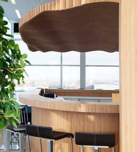Plexwood® Koppert Machines Plafond en relief, Bar courbé et mur cloison luxueux naturel en Bouleau