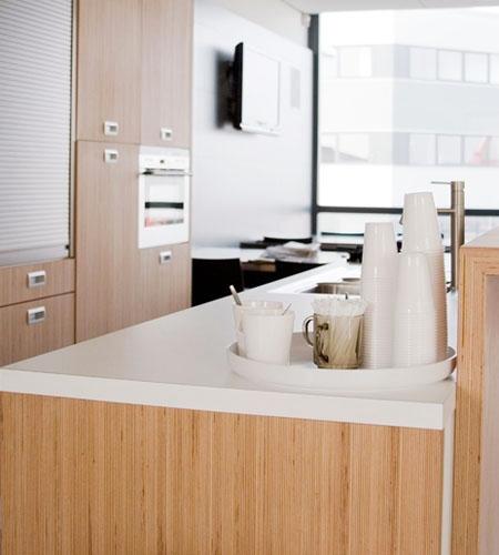 Plexwood® Koppert Machines kitchen counter detail with kitchen cabinetry in beech professional design wood veneer