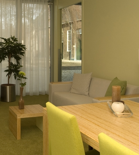 Plexwood® Kranenburg reception tables and furniture armrails of pine sandwich structured composite edge-ply surfaces