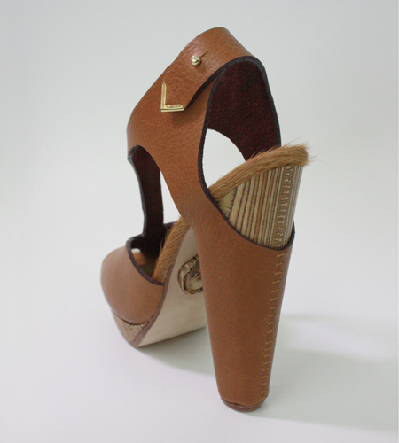 Plexwood® Molly Pryke gorgeous socially responsible wooden shoe from re-used ornamental line wood
