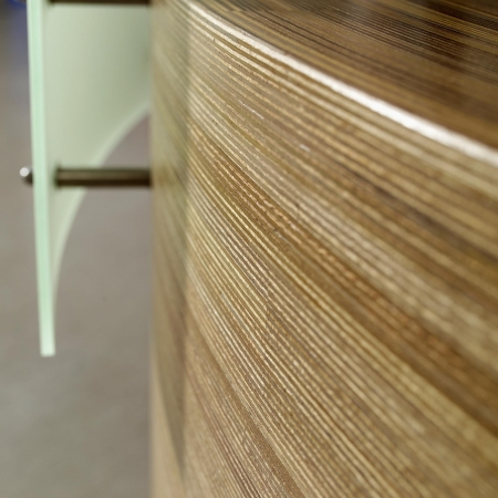 Plexwood® Bendable design wood paneling with a reversed lam wood veneer ply