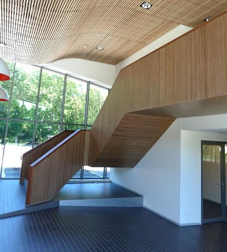 Plexwood® Parnassia Mental Hospital bespoke woodwork hallway staircase and balustrade in plytype meranti veneer