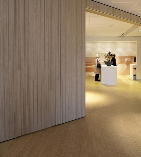 Plexwood® Rabobank public office area with floor, wall and door in pine/ocoumé re-glued and pressed plywood