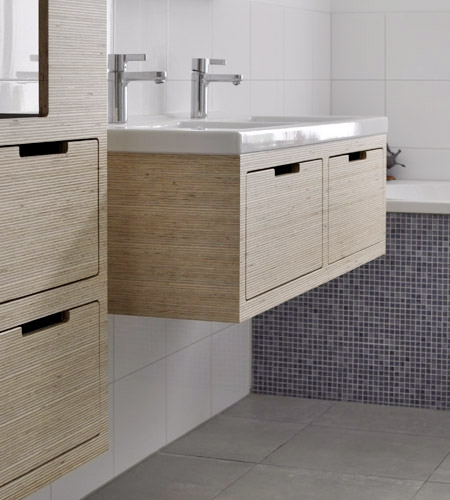 Plexwood® Homely bathroom sink cabinet detail with drawers in deal up-lined reverse glued ply