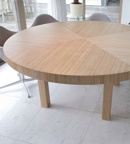 Plexwood® Residential kitchen round table detail with geometric pattern in birch single-ply reconstituted veneer