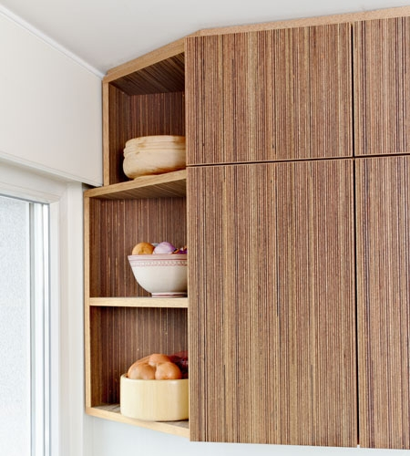 Plexwood® Private home kitchenette door and open cabinetry detail in meranti top glued plywood veneer