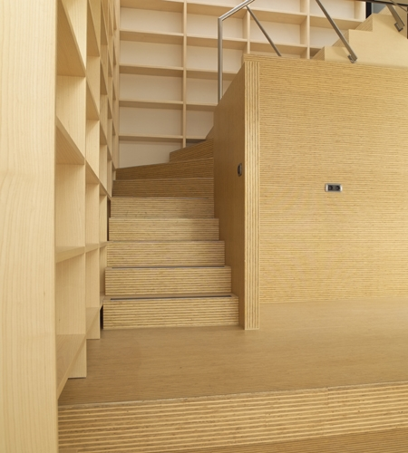 Plexwood® Rietveldplan villa floor wall stairs detail in high-end ply-lined deal wood veneer