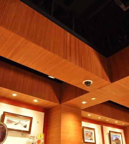 Plexwood® Sands Casino gift shop tray ceiling detail with ocoumé sideways plywood return veneer