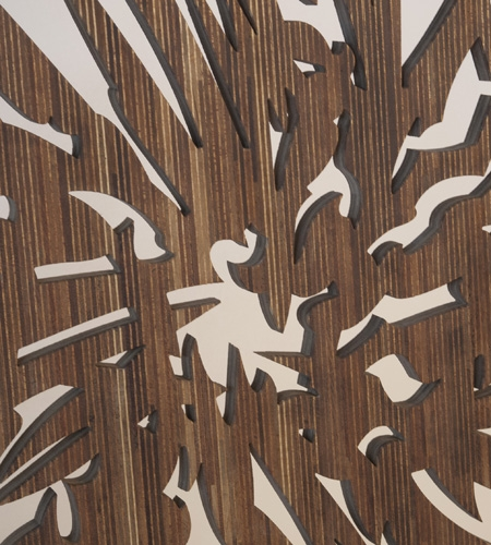 Plexwood® Secondnature detail of a waterjet milled abstract wooden sculpture sandwich ply on matching plywood substrate