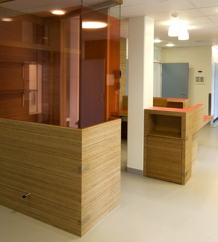 Plexwood® St. Olav's hospital telephone cabinet and storage cabinet with pine end-grain veneer plywood panels