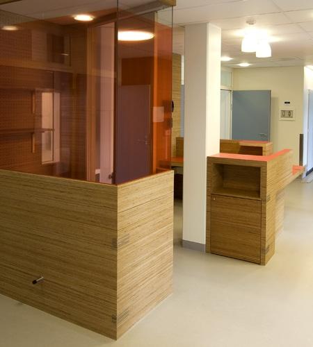 Plexwood® St. Olav's hospital telephone cabinet and storage cabinet with pine end-grain veneer plywood panels