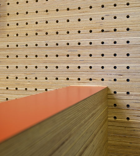 Plexwood® St. Olav's wall detail of cnc perforated acoustic veneer wood panels in pine laid-up sandwich ply