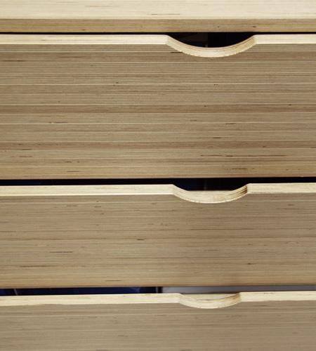 Plexwood® Ta Ti Top winkel ladekast detail van berken fineer sandwich composiet