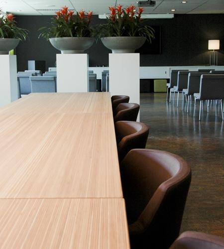 Plexwood® Tree Nursery Van den Berk set of tables together in ocoumé re-glued and pressed plywood veneer