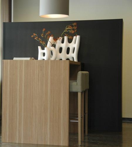 Plexwood® Tree Nursery Van den Berk high table in ocoumé hardwood plywood veneer laminate