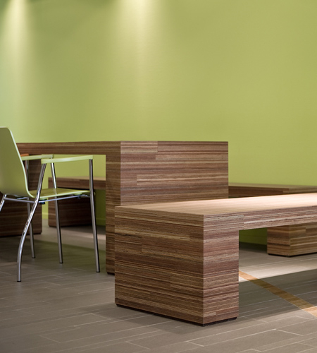 Plexwood® Health Center Twekkelerveld fresh, reading table and bench seats in meranti