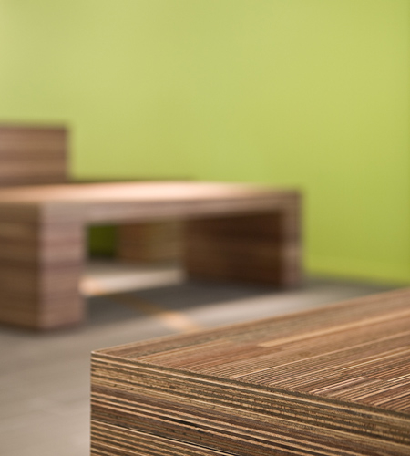 Plexwood® Twekkelerveld Primary Care Clinic bench seat edge detail in meranti interlaminar veneered plywood