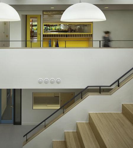 Plexwood® Van Brienenoord School detail of a feature staircase with banister in birch short edge plywood veneer