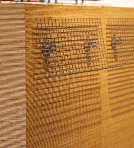 Plexwood® Vianen Public Library detail of a floor display cabinet for art works from edge pine fineline