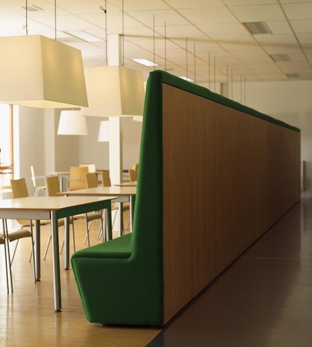 Plexwood® SHR furniture wall and matching floor in eco pine short edge-grain plywood