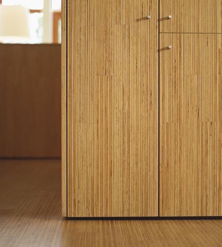 Plexwood® SHR cabinet detail with doors in pine vertical sliced veneer ply
