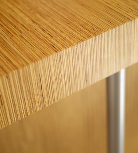 Plexwood® SHR table detail in pine re-stacked and clamped plywood veneer paneling