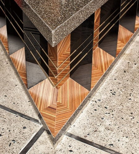 Plexwood® Skye & Walker restaurant at Marriott Executive Apartments Dubai, bar detail with geometric patterns