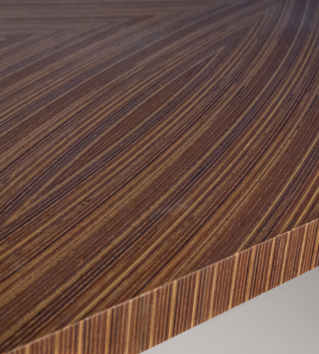 Plexwood® Project detail with made to order design veneer plywood, with curved veneers, with coloured veneers