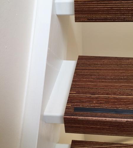 Plexwood® meranti graphic wooden staircase tread covers