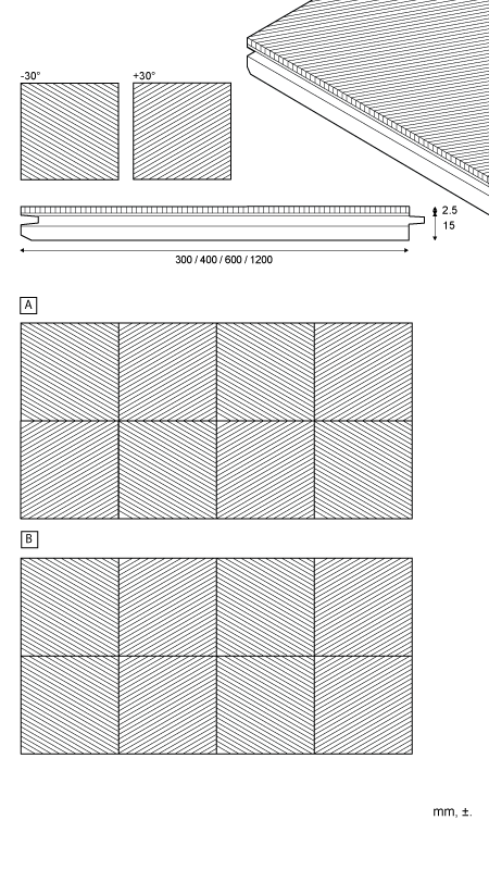Geometric - Tile for wall and ceiling 30°