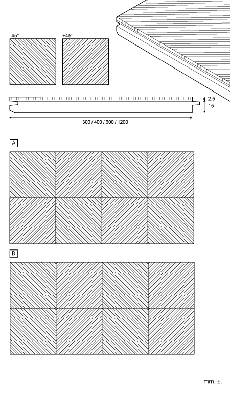 Geometric - Tile for wall and ceiling 45°