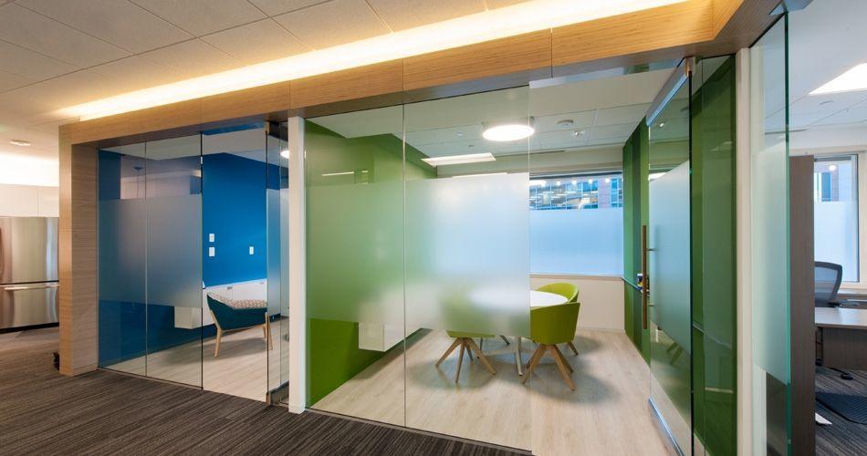 Plexwood® Modern office interior with Birch plywood dividing walls