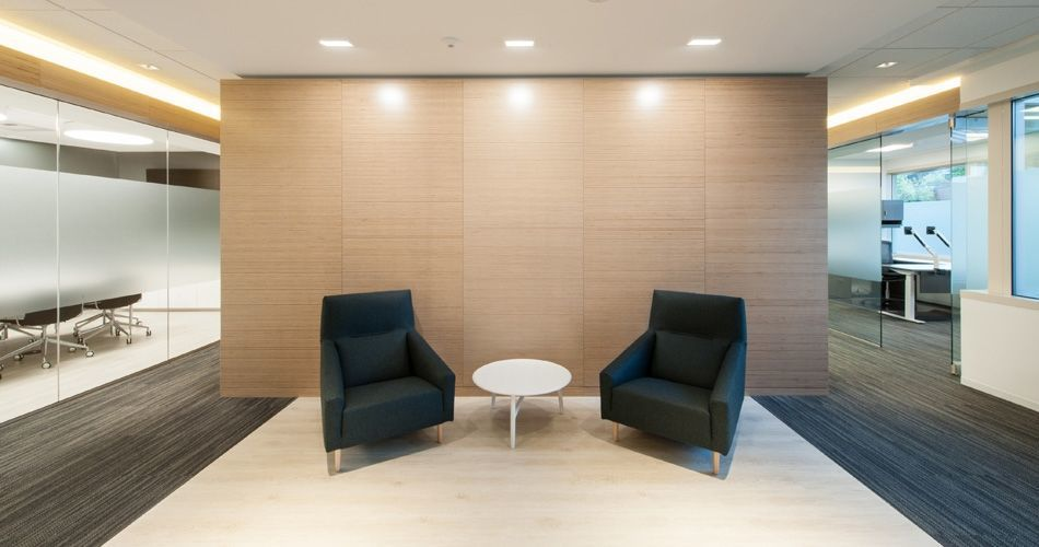 Plexwood® Contemporary office architecture with birch veneered wall partitioning