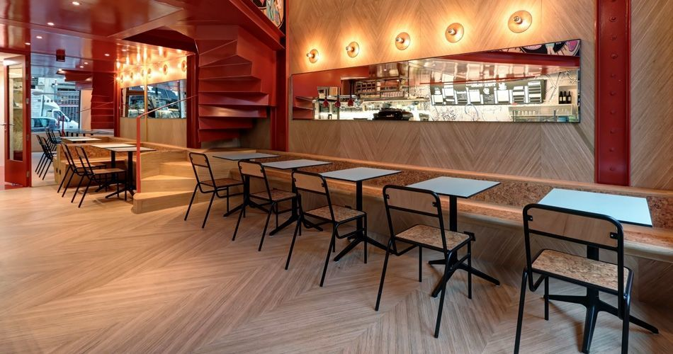 Plexwood® Charli Salé Brussels bakery, restaurant and take away café with Geometric patterned interior design