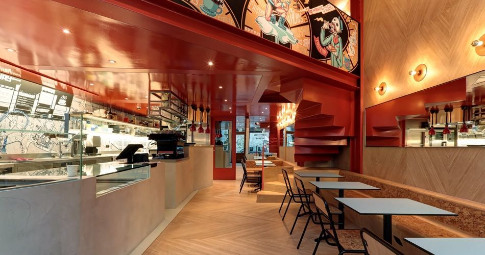 Plexwood® Charli Salé modern and industrial restaurant interior with plywood patterned walls and floors